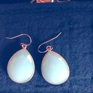 14k gold chalcedony  drop earrings